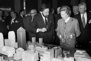 Margaret Thatcher being shown a model of the proposed development at Canary Wharf by the developer Paul Reichmann, in 1988.
