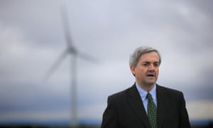 Chris Huhne, then energy secretary, visits a windfarm in Cornwall in 2011.
