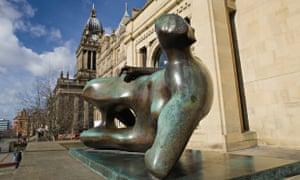 A Henry Moore sculpture outside Leeds Art Gallery.