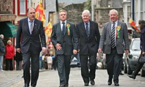 Elfyn Llwyd, Iwan Huws, Alun Ffred Jones and Dafydd Wigley of Plaid Cymru