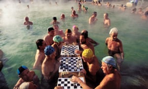 Chess players in the Szechenyi baths in Budapest.