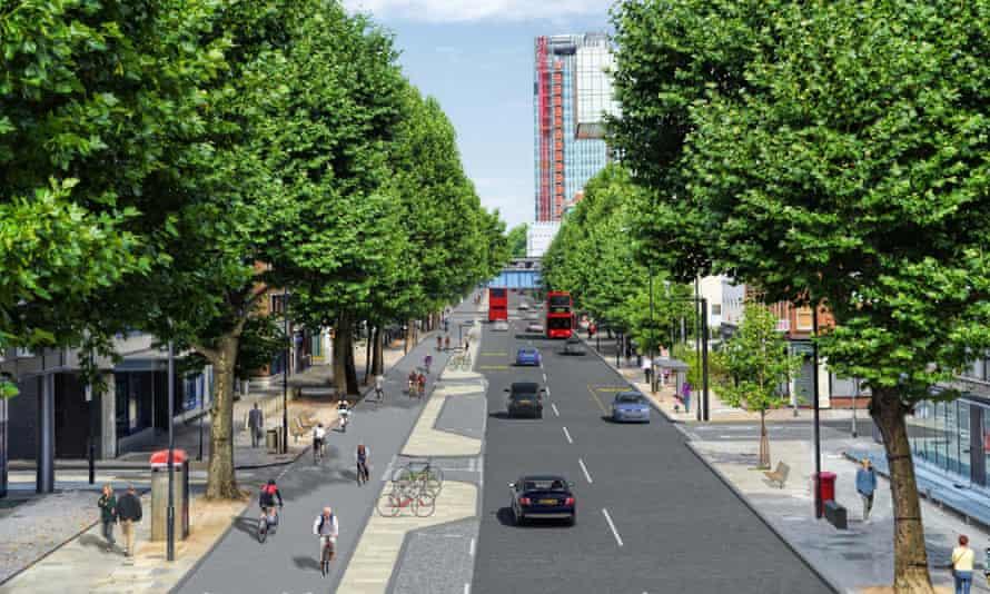 East West Cycle Superhighway plan on Blackfriar road