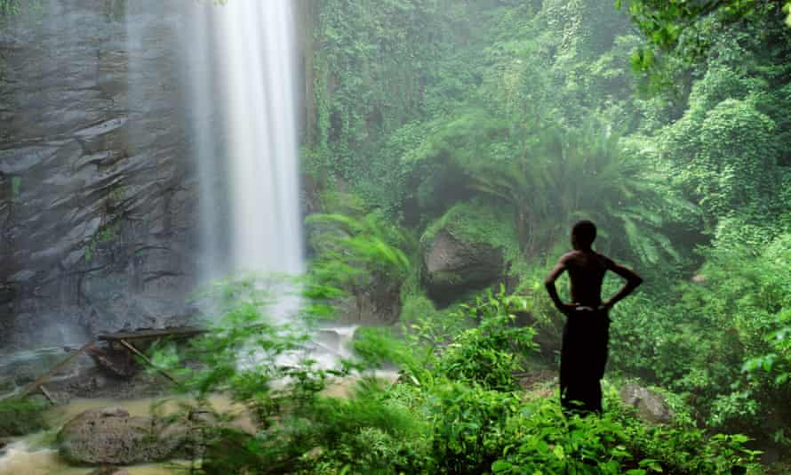 A waterfall in the Caribbean island of Grenada's rainforest.