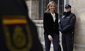Spain's Princess Cristina arrives at court in Palma de Mallorca