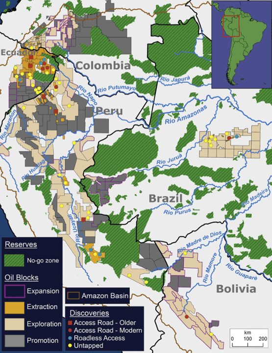 Map features the current state of all hydrocarbon blocks and known discoveries. For discoveries, symbols indicate access type (and era for access roads)