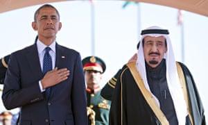 President Barack Obama with Saudi Arabian King Salman.
