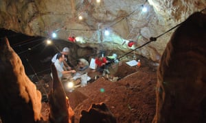The excavation area of where the skull was found in western Galilee in a cave that had collapsed around 30,000 years ago.