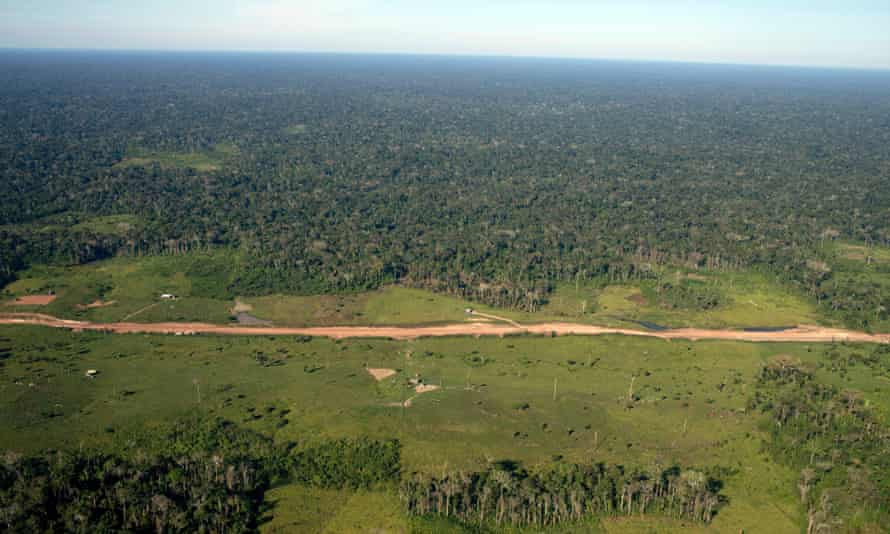A newly constructed road goes through the Amazon rainforest outside Rio Branco, the capital of Acre Province, Brazil. For every 40 meters or road created, around 600 square kilometers of forest is lost, 21 June 2011.