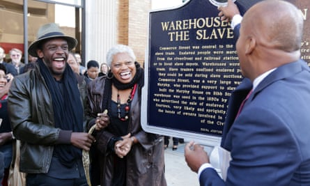 Bryan Stevenson (right) with 12 Years a Slave actor Chris Chalk and Black Heritage council chair Frazine Taylor at the 2013 unveiling of a hard-won slave trade historical marker in Montgomery.