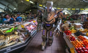 Titan, created by England Cyberstein Robots, at a food market ahead of an robotics exhibition in Moscow last year.