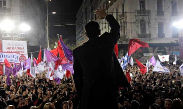 The leader of Syriza, Alexis Tsipras, waves to supporters at a rally in Athens, 22 January 2015.