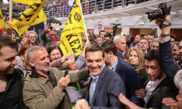 Tsipras with supporters in Thessaloniki.
