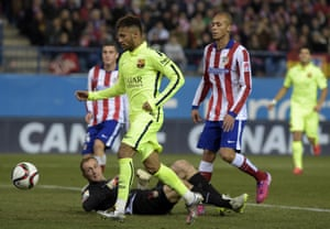 Neymar taps home after dinking the ball past Atletico Madrid's goalkeeper Jan Oblak