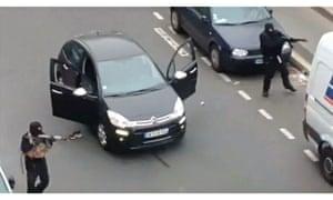 Gunmen fleeing the Charlie Hebdo offices
