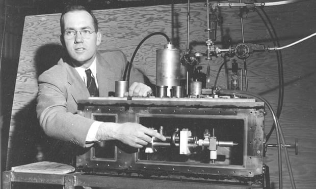 Charles Townes in 1955 with his maser – the microwave beam predecessor to the laser.