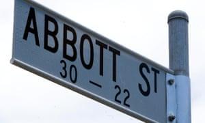 A sign for Abbott Street