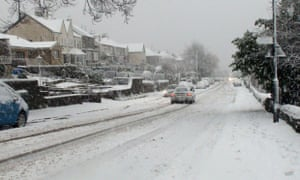 Snow falls in the Loxley area of Sheffield.