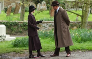 Michelle Dockery and Hugh Bonneville in the village of Downton.