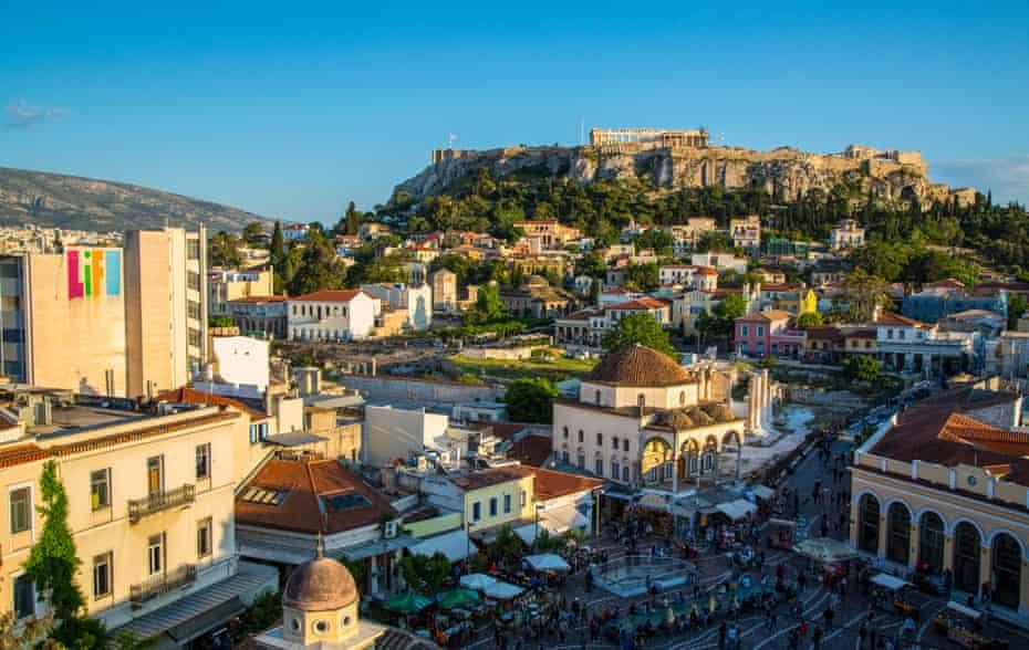 The flea market, Monastiraki Mosque and the Parthenon in Athens.
