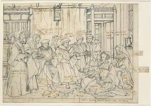 Thomas More's annotations on Hans Holbein's sketch for his painting of the More family.