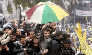 Mohammed Dahlan at a Fatah rally in Gaza