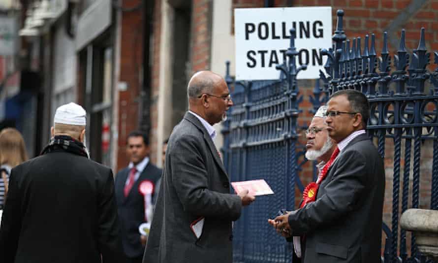 A polling station in Brick Lane, London.