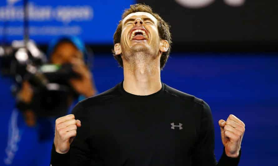 Andy Murray celebrates after beating Tomas Berdych.