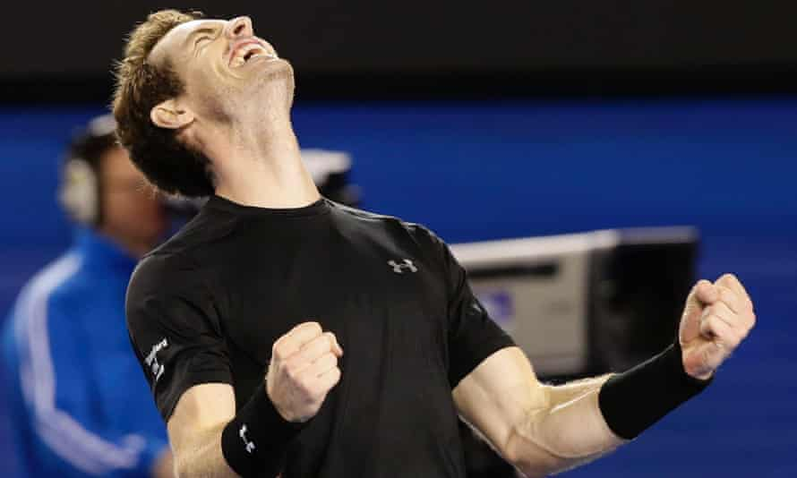 Andy Murray celebrates after winning against Tomas Berdych.