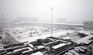 Terminal 1 at Manchester airport covered in a blanket of snow