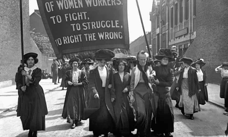 A suffragette march in 1911 by the National Federation of Women Workers in Bermondsey, London