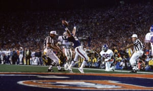 1987 Wide receiver Phil McConkey of the New York Giants reacts after being stopped short of the goal line against the Denver Broncos during Super Bowl XXI. The Giants defeated the Broncos 39-20