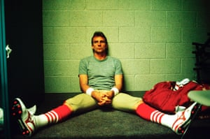 1989 San Francisco 49ers quarterback Joe Montana alone with his thoughts moments before Super Bowl XXIII