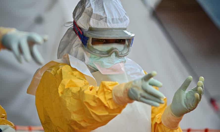 A medical worker in Sierra Leone