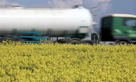 A tanker lorry passes along the A303 as rapeseed blooms in a field close to the ancient monument of Stonehenge, on April 24, 2012 near Amesbury. The vibrant yellow blossom of rapeseed, or oilseed rape (Brassica napus) has become a familiar sight in rural areas of the UK. According to the UK National Farmers Union, rapeseed bio-fuel could meet a significant part of the country's fuel needs if given further government backing and investment.