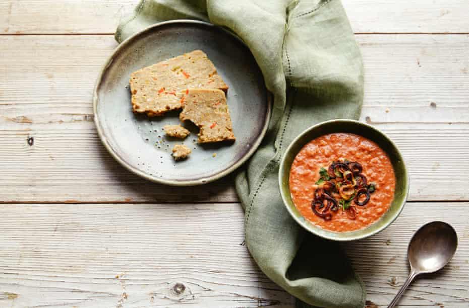 Yoghurt and barley soup and barley and lentil loaf.