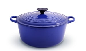 A blue Le Creuset casserole dish