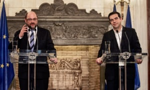 Greek Prime Minister Alexis Tsipras holds a press conference with European Parliament President Martin Schulz at his office on January 29, 2015 in central Athens, Greece.