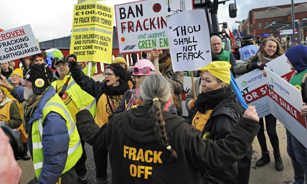 Anti-fracking protesters gather outside council offices in Preston