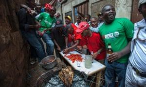 An impromptu nyama choma barbecue in Nairobi.