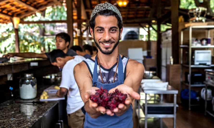 Getting fresh … chef Gome Galily at his restaurant, Matsya Freestyle Kitchen.