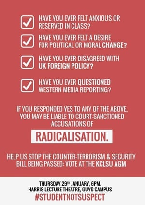 Poster circulated by King's College London students online