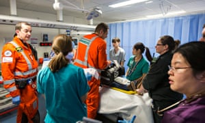Health workers in a hospital A&E department