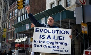 A religious zealot proselytizes against the theory of evolution in New York on Saturday, April 9, 2011.
