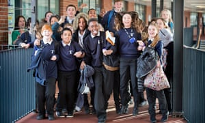 Pupils between lessons at Cotham School in Bristol, the former school of Nobel-winning scientists Pa