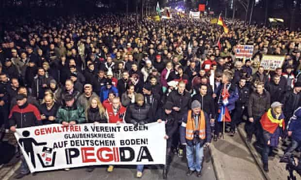A Pegida march in Dresden, eastern Germany, last month.