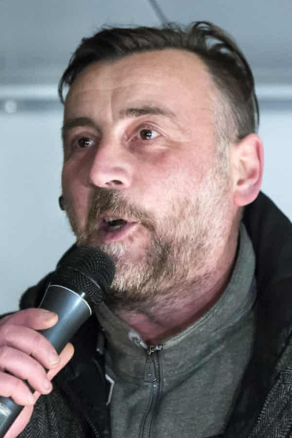 The leader of Pegida, Lutz Bachmann, delivers a speech during a rally.