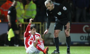 Stoke City's Bojan Krkic is substituted after picking up a career-ending injury against Rochdale.