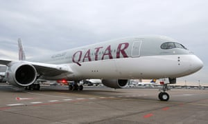 The new Airbus A350 of Qatar Airways coming from Doha, Qatar