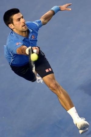 Novak Djokovic reaches out for a shot.