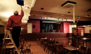 A leaking roof is inspected at the Shiregreen Working Men's Club.